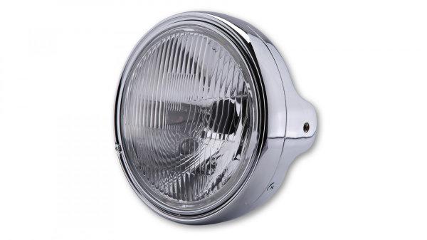 LTD Headlamp H4, black, round side holes, E-mark