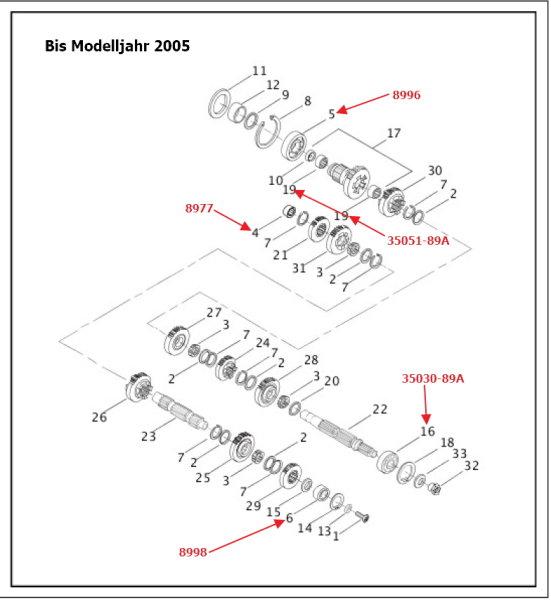 Kugelllager Getriebe Hauptwelle, alle XB