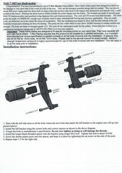 T-REX Motorprotektoren Ersatz-Pucks, für alle Buell XB9/12